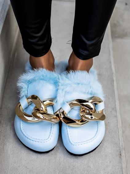 Světle modré pantofle POLLET se zlatým zdobením