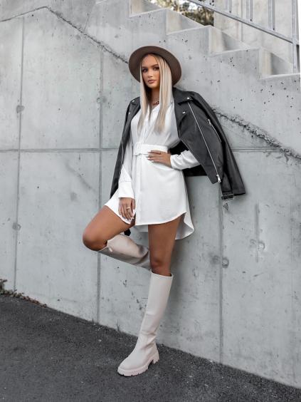 Bílé košilové šaty SENSATION s páskem