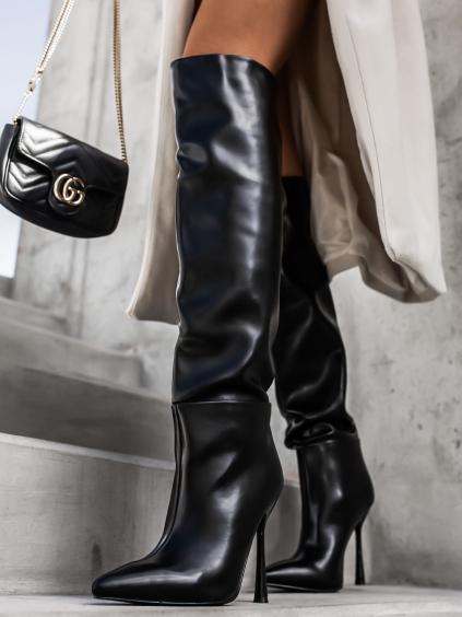 Černé elegantní kozačky COULLY na vysokém podpatku