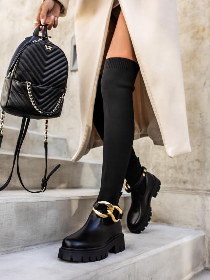 Černé vysoké kozačky AMPLE nad kolena
