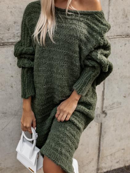 Khaki pletené svetrové šaty WINELA s volnými rukávy