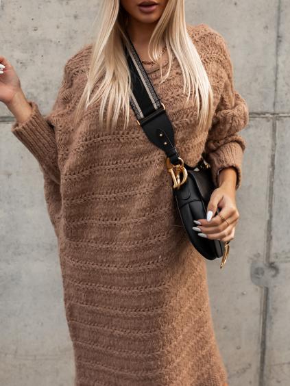 Hnědé pletené svetrové šaty WINELA s volnými rukávy