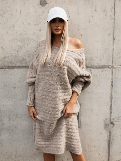 Béžové pletené svetrové šaty WINELA s volnými rukávy
