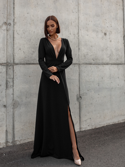 Černé dlouhé šaty SAINTY s rozparkem