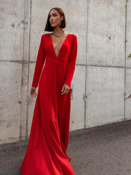 Červené dlouhé šaty SAINTY s rozparkem