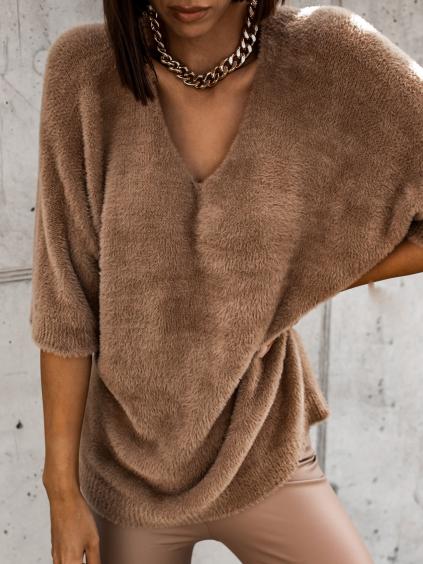 Hnědý svetřík APPEARY s krátkým rukávem