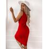 Červené jednoduché žebrované šaty THEODORE
