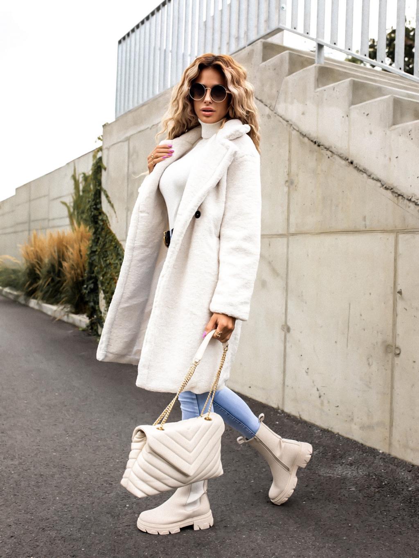 Biely dlhší kabát SPENCE (Velikost S)