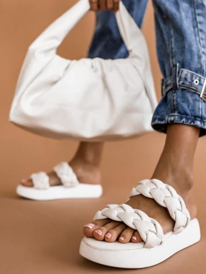 Biele pantofle se zapletenými řemínky BRAID (Velikost 41)