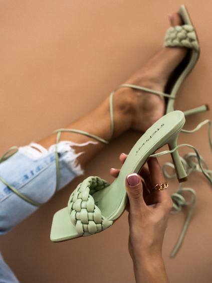 Zelené šnurovacie topánky na podpätku EDITH (Velikost 41)