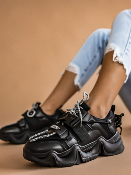 Čierne módne tenisky STAMP (Velikost 41)