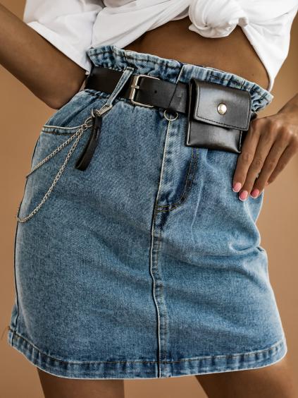 Tmavo modrá džínsová sukňa CODY s opaskom (Velikost S)