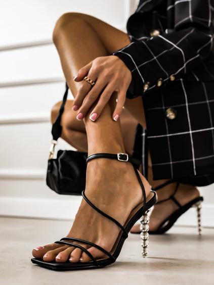 Čierne topánky na výstredným podpätku Holly (Velikost 41)