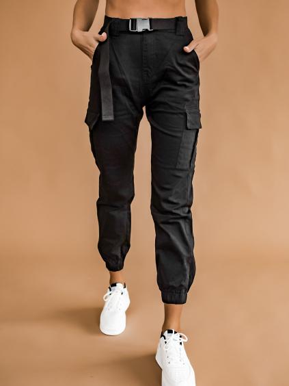 Čierne nohavice GRANT s vreckami a opaskom (Velikost XS)