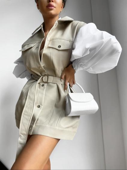 Krémová koženková vesta STOPS s vreckami a opaskom