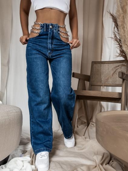 Tmavomodré džínsy CHAIN s retiazkami v páse (Velikost XS)