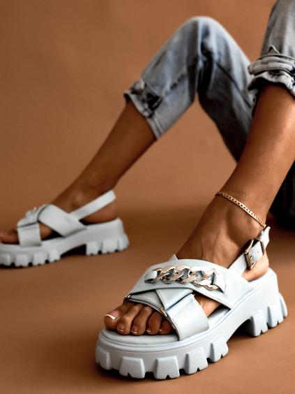 Modré sandálky na platforme s retiazkou NANCY (Velikost 41)