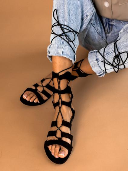 Čierne šnurovacie sandálky LACE (Velikost 41)