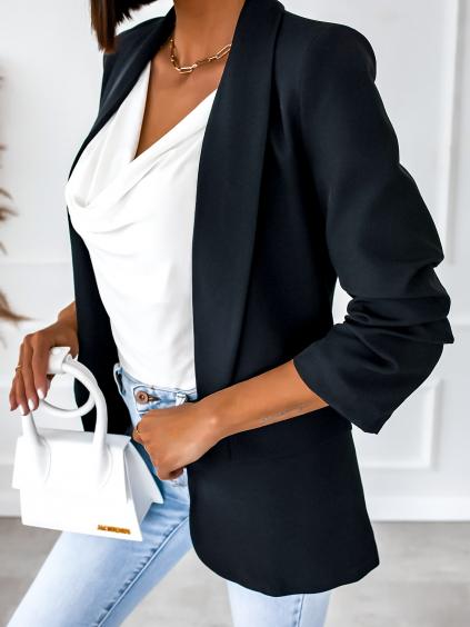 Čierne sako AGATIA s riasenými rukávmi (Velikost XL)