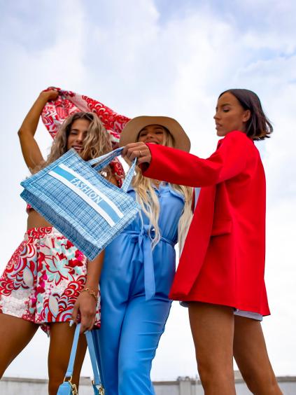 30516 modra slamena kabelka fashion