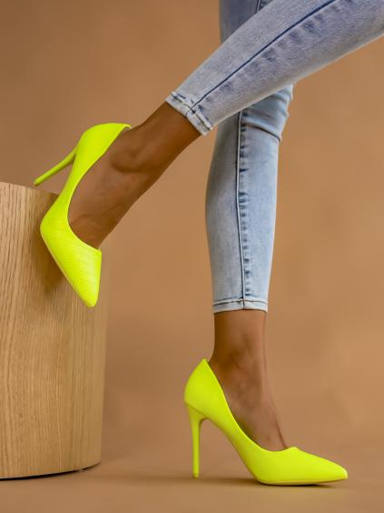 Neónovo žlté vzorované topánky na podpätku LINDSEY (Velikost 40)