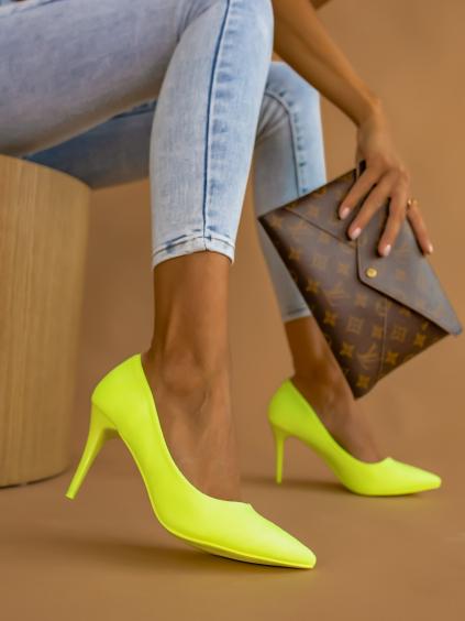 Neónovo žlté topánky na podpätku SHELLY (Velikost 41)