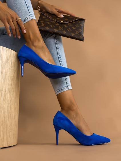Královsky modré topánky na podpätku SHELLY (Velikost 41)