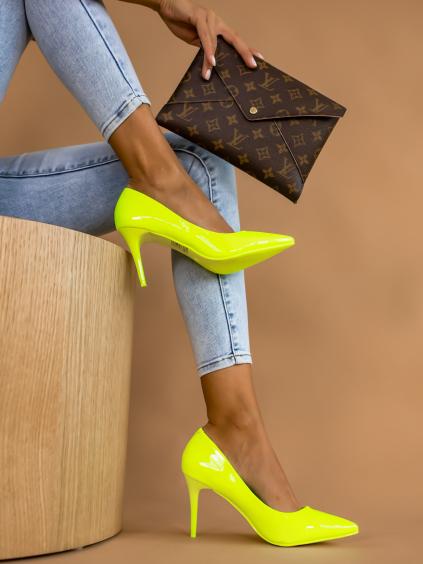 Neónové žlté hladké topánky na podpätku MELODY (Velikost 41)