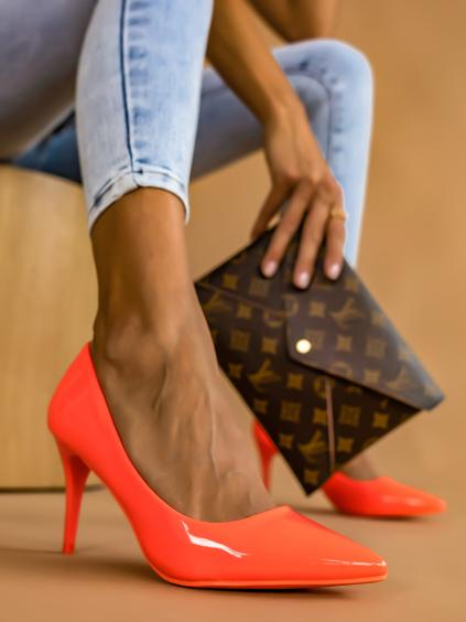 Neónové oranžové hladké topánky na podpätku MELODY (Velikost 41)