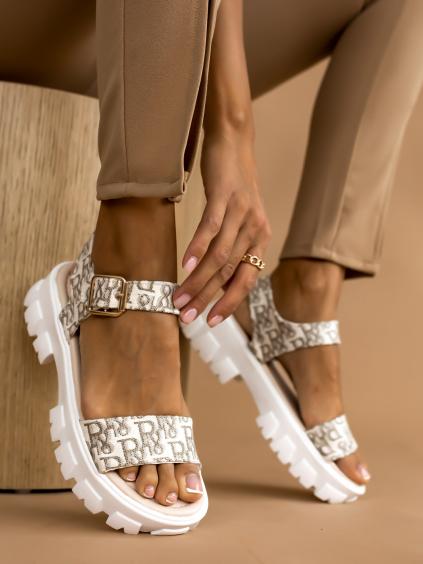Béžové vzorované sandálky JEFF (Velikost 41)
