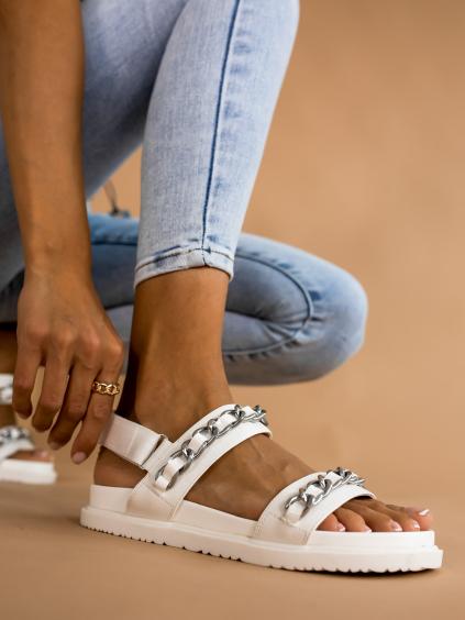 Biele sandálky ALIVE s retiazkami (Velikost 41)