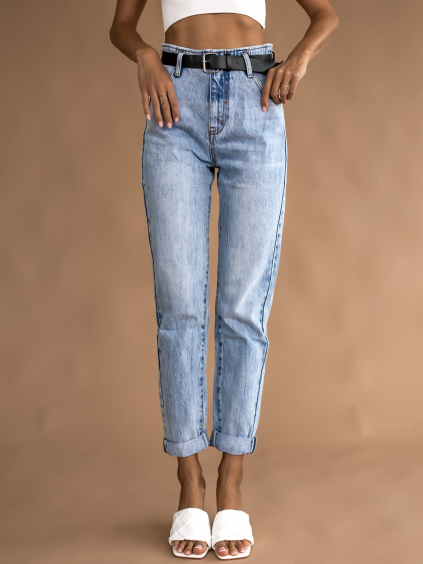 Svetlo modré džínsy PIECE s opaskom (Velikost XS)