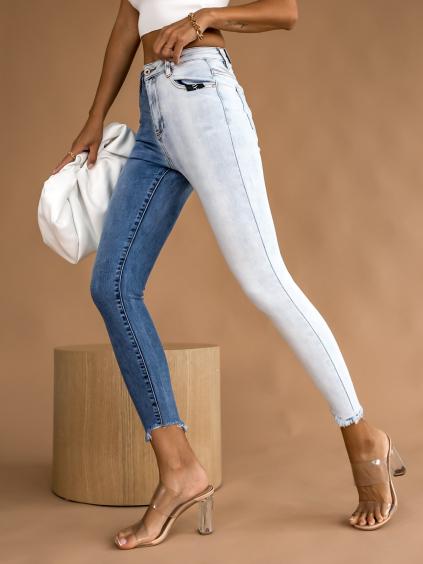 Dvojfarebné modré džínsy TYRA (Velikost XS)