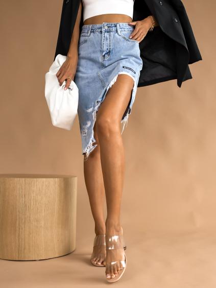 Modrá denim sukne LETTER (Velikost XS)