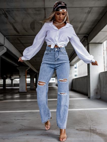 Modré džínsy MORRISON s rozšírenými nohavicami (Velikost S)