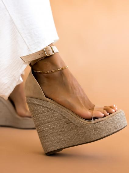 Béžové sandálky na platforme ALENS (Velikost 40)