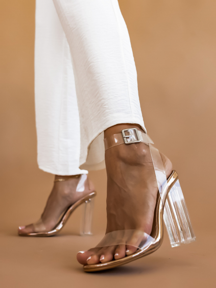 Zlaté topánky na podpätku JENNY s transparentnými pásky (Velikost 40)