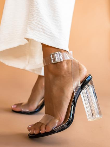Čierne topánky na podpätku JENNY s transparentnými pásky (Velikost 40)