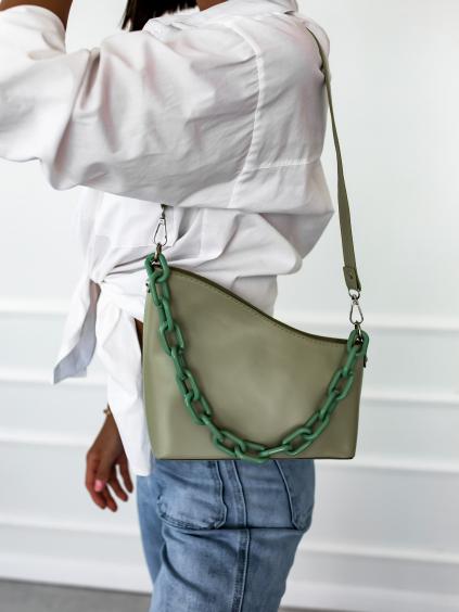 30012 1 zelena kabelka broken pres rameno