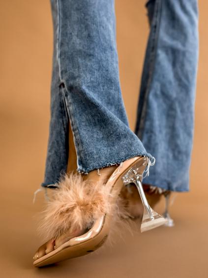 Béžové topánky na podpätku THROW zdobené perím (Velikost 41)