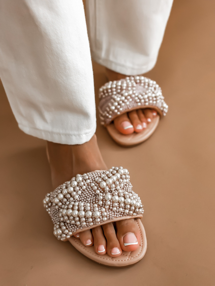Staroružove papuče BEADS zdobené perličkami (Velikost 41)