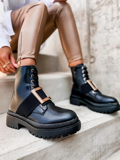 Čierne topánky CONTENT so zlatou sponou (Velikost 41)