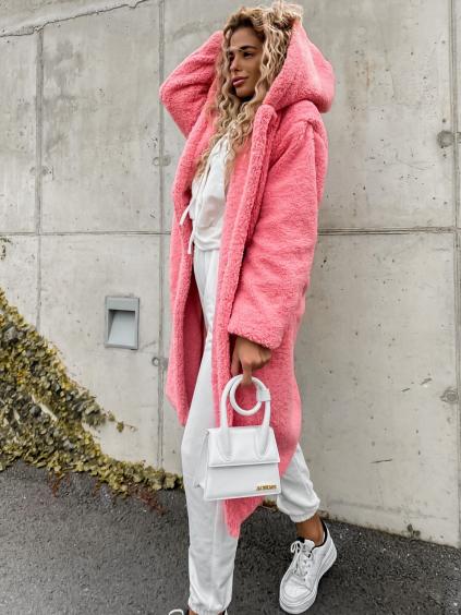 Ružový dlhší kabát LEXIE s kapucňou (Velikost S)