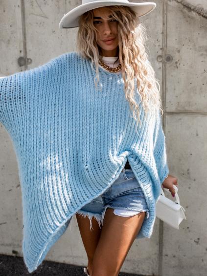 36579 1 svetle modry pleteny oversize svetr jeng