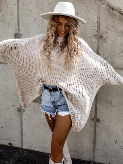 36585 bezovy pleteny oversize svetr jeng