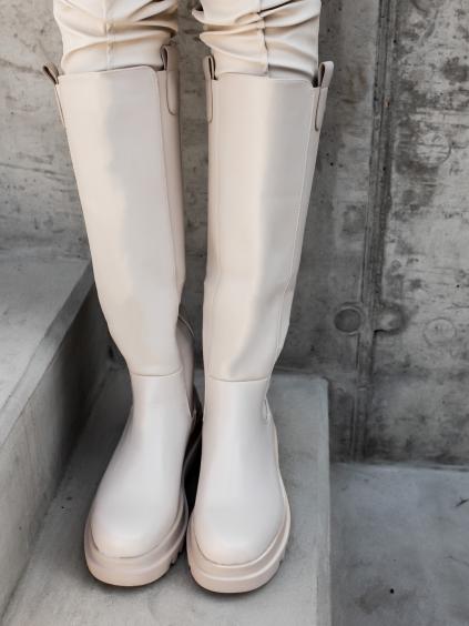 Krémové čižmy WISSE (Velikost 41)