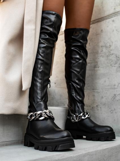Čierne čižmy MEDLEY nad kolená (Velikost 41)