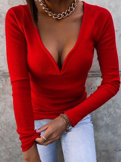 36942 3 cervene zebrovane triko genuine s dlouhym rukavem