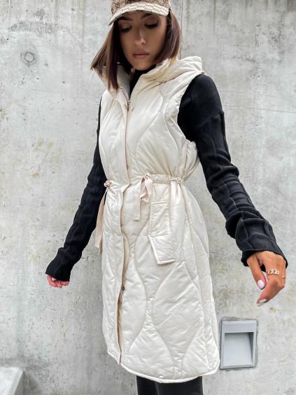 Krémová prešívaná vesta SHALL so sťahovaním v páse (Velikost S/M)