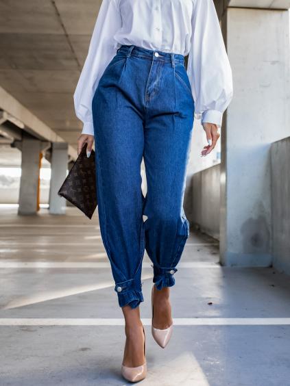 Tmavomodré džínsy CAYOTE s gombíkmi (Veľkosť XS)